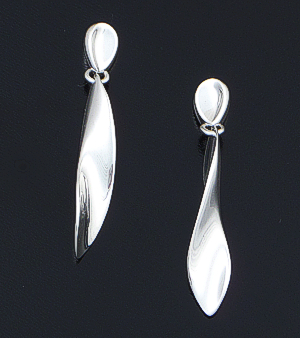 Zina - Teardrop & Ribbon Twist Sterling Silver Post Dangle Earrings #37118 $135.00