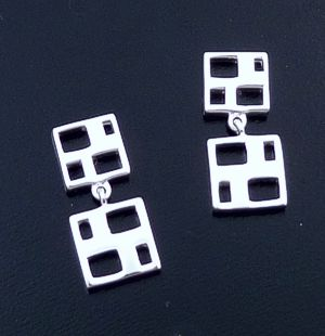 Zina - Windows Two Piece Sterling Silver Dangle Earrings #37285 $65.00