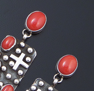 Ronnie Willie (Navajo) - Red Coral & Sterling Silver Beaded Four Corner Post Dangle Earrings #37568 $295.00