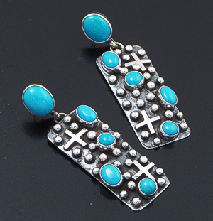 Ronnie Willie (Navajo) - Sleeping Beauty Turquoise & Sterling Silver Beaded Four Corner Post Dangle Earrings #37570 $255.00