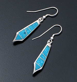 Supersmith Inc. - David Rosales Designs - Arizona Blue Inlay & Sterling Silver Angular Drop Earrings #37701 Style ER012 $165.00