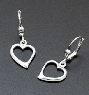 Zina - Open Heart Sterling Silver Dangle Earrings #37759 $75.00