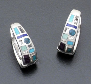 Supersmith Inc. - David Rosales Designs - Spring Mountain Sterling Silver Code Talker Huggie Hoop Earrings #37818 Style ER147 $220.00