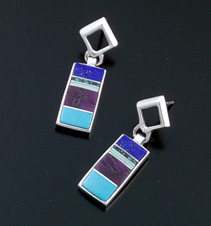 Supersmith Inc. - David Rosales Designs  - Spring Mountain Inlay & Sterling Silver Open Square & Rectangle Post Dangle Earrings #37819 Style ER701 $180.00