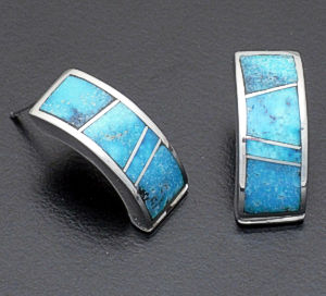 Supersmith Inc. - David Rosales Designs - Arizona Blue Sterling Silver Half Hoop Earrings #38239 Style ER054 $210.00
