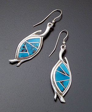Supersmith Inc. - David Rosales Designs - Arizona Blue Sterling Silver Dangle Earrings #38240 Style ER315 $235.00