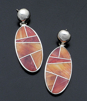 Supersmith Inc. - David Rosales Designs - Desert Fire Inlay & Sterling Silver Large Oval Earrings #38401 Style ER329 $265.00