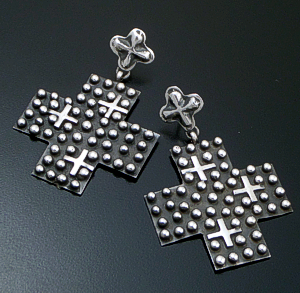 Ronnie Willie (Navajo) - Large Oxidized Sterling Silver Beaded Four Corner Cross Post Dangle Earrings #38855 $245.00
