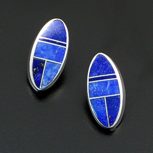 Supersmith Inc. - David Rosales Designs (Navajo) - Blue Water Inlay & Sterling Silver Offset Oval Earrings #38944 Style ER609 $265.00