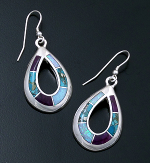 Supersmith Inc. - David Rosales Designs - Shalako Inlay & Sterling Silver Open Teardrop Dangle Earrings #39370 Style ER299 $265.00