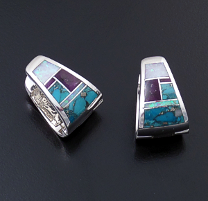 Supersmith Inc. - David Rosales Designs - Shalako Inlay & Sterling Silver Wide Huggie Hoop Earrings #39371 Style ER222 $290.00