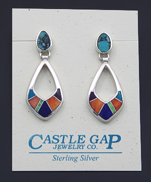 Supersmith Inc. - David Rosales Designs - Indian Summer Inlay & Sterling Silver Open Teardrop Dangle Earrings #39375 Style ER209 $235.00