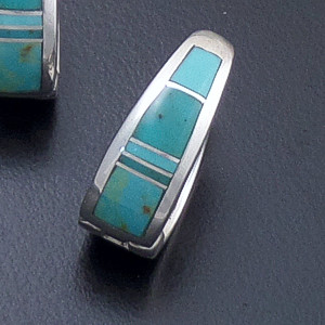 Supersmith Inc. - David Rosales Designs - Turquoise Valley Inlay & Sterling Silver Huggie Hoop Earrings #39379 Style ER307 $240.00