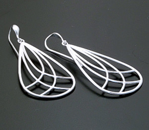 Zina - Lined Sterling Silver Teardrop Dangle Earrings #39594 $135.00
