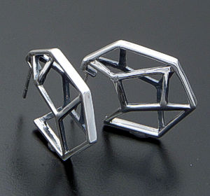 Zina - Prism 3D Sterling Silver Hoop Earrings #39604 $100.00