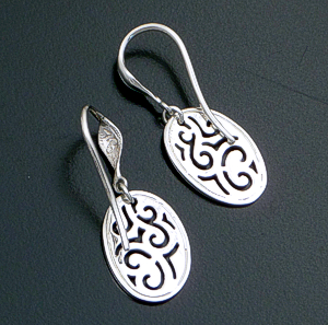 Zina - Sterling Silver Oval Lace Dangle Earrings #39646 $75.00