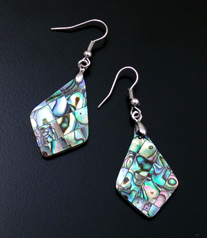 Navajo - Abalone Shell & Sterling Silver Angular Teardrop Dangle Earrings #39924A $30.00