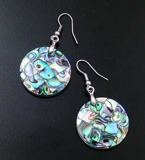 Navajo - Abalone Shell & Sterling Silver Circular Disk Dangle Earrings #39924D $30.00