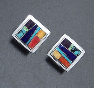 Supersmith Inc. - David Rosales Designs - Indian Summer Inlay & Sterling Silver Edged Square Earrings #40001 Style ER500 $195.00