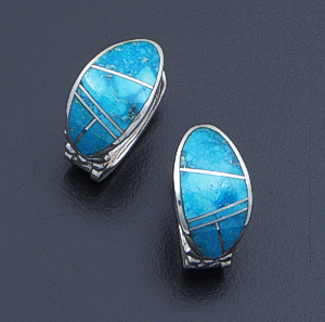 Supersmith Inc. - David Rosales Designs - Watermark Turquoise Inlay & Sterling Silver Oval Huggie Hoop Earrings #40009 Style ER331 $290.00