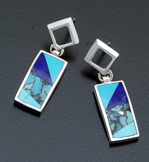 Supersmith Inc. - David Rosales Designs - Blue Mountain Inlay & Sterling Silver Tab Dangle Earrings #40041 Style ER710 $225.00