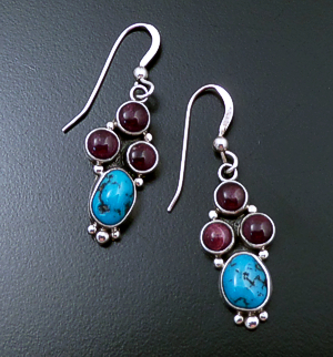 L.T. (Leonard) Chee (Navajo) - Purple Shell & Turquoise Sterling Silver Beaded Cluster Dangle Earrings #40111A $60.00