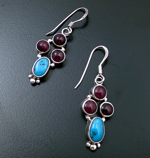 L.T. (Leonard) Chee (Navajo) - Purple Shell & Turquoise Sterling Silver Beaded Cluster Dangle Earrings #40111B $60.00