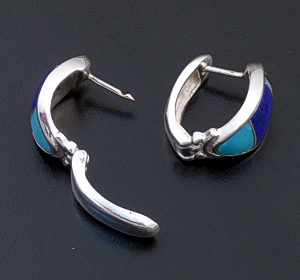 Supersmith Inc. - David Rosales Designs - Spring Mountain Inlay & Sterling Silver Oval Huggie Hoop Earrings #40120 Style ER331 $240.00