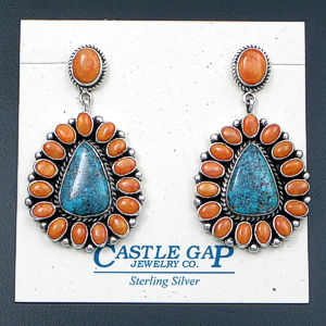 LaRose & Archie Ganadonegro (Navajo) - Orange Shell & Turquoise Sterling Silver Cluster Post Dangle Earrings #40401 $540.00