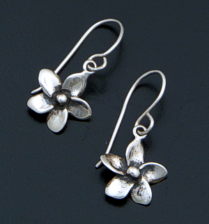 Zina - Hibiscus Flower Sterling Silver Dangle Earrings #40467 $60.00