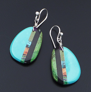 Santo Domingo - Turquoise & Multistone Inlay Slab Dangle Earrings #40831 $85.00