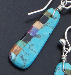Santo Domingo - Small Turquoise & Multistone Inlay Slab Dangle Earrings #40834 $75.00
