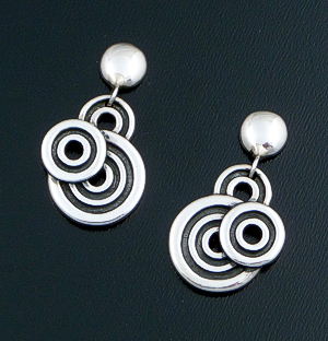 Zina - Button & Spiralz Sterling Silver Post Dangle Earrings #40854 $150.00