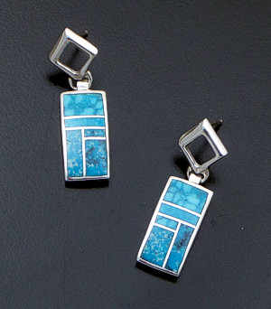 Supersmith Inc. - David Rosales Designs - Kingman Turquoise Inlay & Sterling Silver Rectangle Tab Post Dangle Earrings #41149 Style ER701 $225.00
