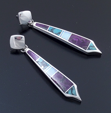 Supersmith Inc. - David Rosales Designs - Shalako Inlay & Sterling Silver Long Post Dangle Earrings #41164 Style ER120 $280.00