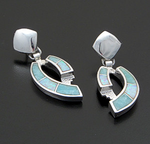 Supersmith Inc. - David Rosales Designs - Amazing Light Inlay & Sterling Silver Double Ribbon Post Dangle Earrings #41186 Style ER060 $225.00