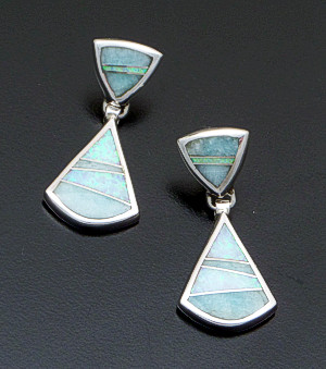 Supersmith Inc. - David Rosales Designs - Amazing Light Inlay & Sterling Silver Double Triangle Post Dangle Earrings #41187 Style ER633 $270.00