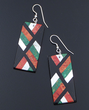 Chaslyn Crespin (Santo Domingo) - Large Rectangular Multistone Inlay Dangle Earrings #41388 $110.00
