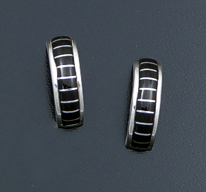 Gina Dosedo (Zuni) - Channel Inlay Jet & Sterling Silver Half Hoop Earrings #41403 $85.00