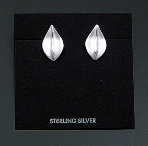 Zina - Satin Finished Sterling Silver Leaf Earrings #41519 Item 18 $60.00