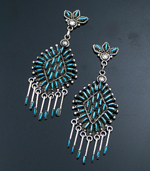 Kevin Leekity (Zuni) - Diamond Shaped Turquoise Needlepoint & Sterling Silver Post Dangle Earrings #41706 $350.00