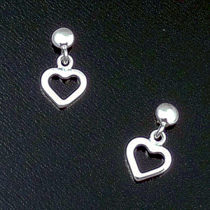 Small Sterling Silver Open Heart Post Dangle Earrings #41907 $15.00