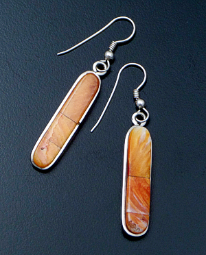 Navajo - Slender Orange Spiny Oyster Shell & Sterling Silver Oval Dangle Earrings #42282 $100.00