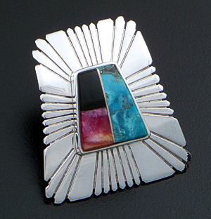 Melvin Francis (Navajo) - Multistone Inlay & Sterling Silver Sunburst Tapered Rectangle Earrings #42287 $165.00