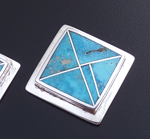 Supersmith Inc. - David Rosales Designs (Navajo) - Arizona Blue Inlay & Sterling Silver Edged Square Earrings #42355 ER514 $270.00