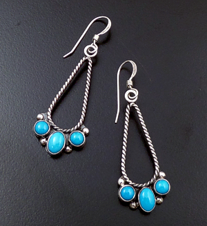 L.T. (Leonard) Chee (Navajo) - Three Stone Turquoise & Sterling Silver Twist Wire Teardrop Dangle Earrings #42452 $95.00