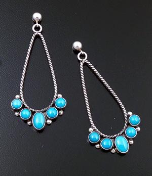 L.T. (Leonard) Chee (Navajo) - Five Stone Turquoise & Sterling Silver Twist Wire Teardrop Post Dangle Earrings #42453 $120.00