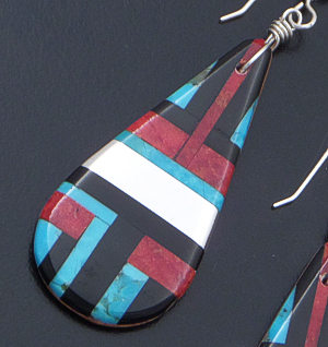 Daniel Coriz (Santo Domingo) - Large Teardrop Multistone Inlay Dangle Earrings #42511 $155.00