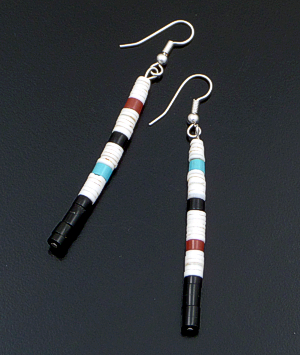 Delbert Crespin (Santo Domingo) - Long Multistone Layered Heishi Dangle Earrings #42522A $25.00