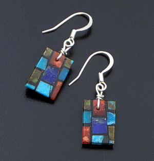 Santo Domingo - Small Rectangular Multistone Inlay Dangle Earrings #42641 $45.00